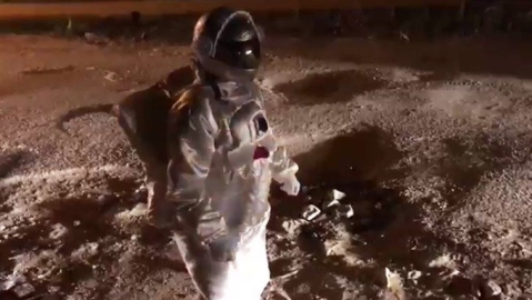 WATCH: Man dressed as astronaut 'moonwalks' on Bengaluru potholes, video goes viral