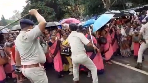 Protesting Jharkhand Anganwadi women workers beaten by cops