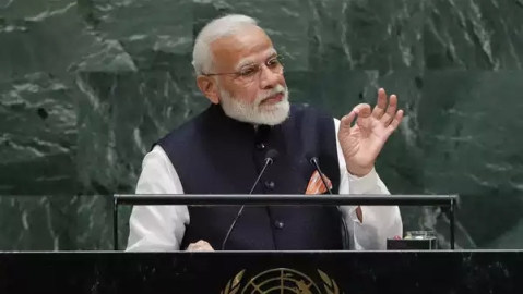 Modi addressing the UN General Assembly on Friday.