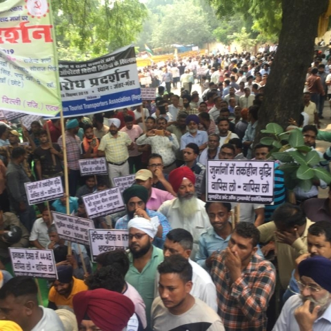 Delhi transporters chant, 'Down with Modi', call for a total strike on Thursday