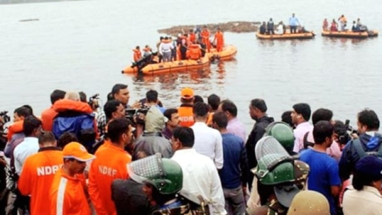 Search and rescue operations are on in the Godavari river to find the survivors of the boat mishap on Sunday (IANS photo).