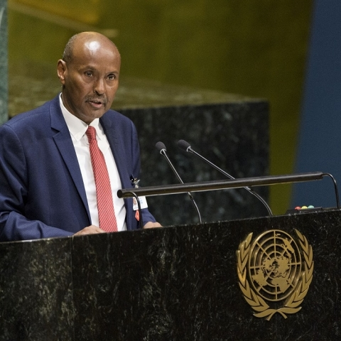 Abdulqawi Yusuf, the President of the International Court of Justice, presents his annual report at the 74th session of the United Nations General Assembly on October 30, 2019 (IANS)
