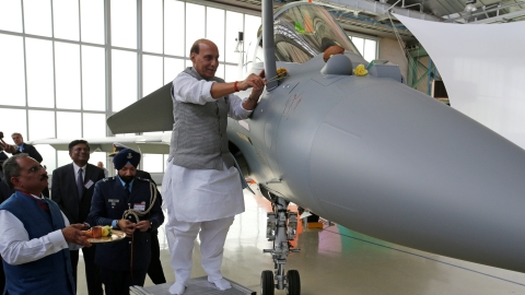 Defence Minister Rajnath Singh performing the puja of the first Rafale fighter plane at a Dassault facility in Merignac in France on October 8, 2019.