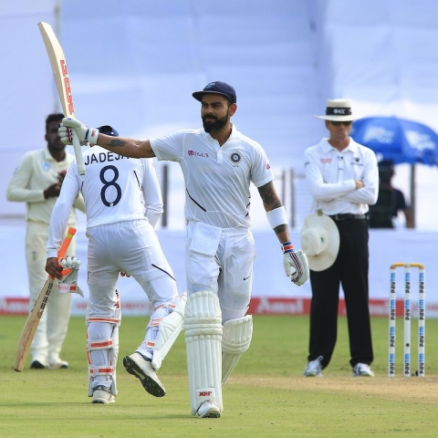Virat Kohli in  Test match between India and South Africa (Photo courtesy: Twitter)