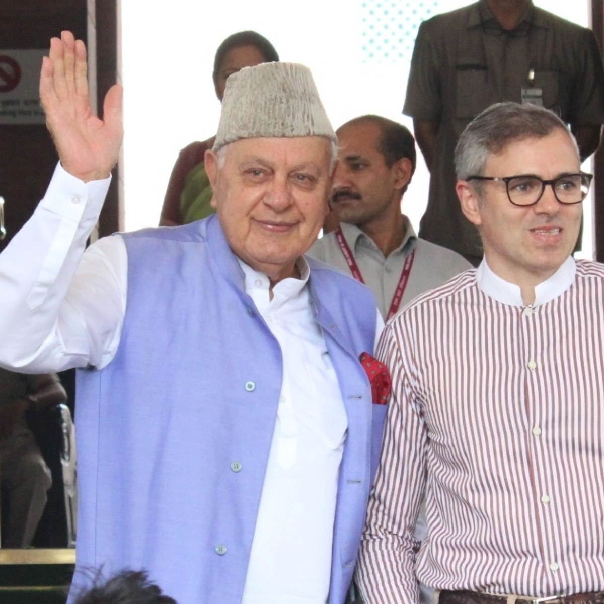National Conference (NC) leaders Farooq Abdullah and Omar Abdullah (IANS file photo)