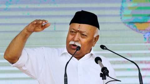 Rashtriya Swayamsevak Sangh (RSS) chief Mohan Bhagwat addresses during the 'Vijayadashami Utsav 2019', at RSS headquarter in Nagpur (PTI Photo)