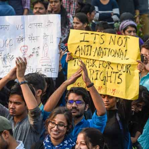 JNU students protesting against fee hike