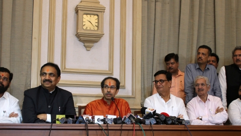 Maharashtra Chief Minister Uddhav Thackeray addresses the media after the first cabinet meeting, in Mumbai, on Nov 28, 2019 (PTI Photo)