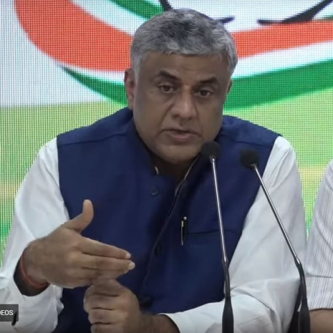 Congress MP prof Rajeev Gowda and senior leader Pawan Khera briefing the media on the Electoral Bond fraud.