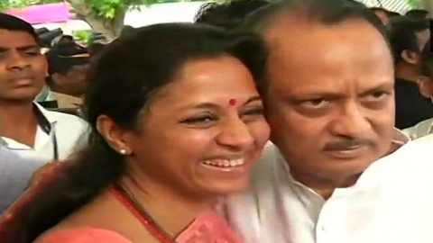 Supriya Sule greets cousin Ajit Pawar with a hug before Maharashtra session