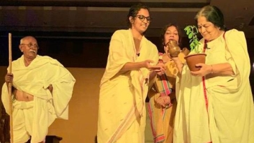 A scene from the play 'Kasturba'
