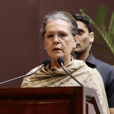 Congress president and Indira Gandhi Trust chairperson Sonia Gandhi speaking at the the presentation of the Indira Gandhi Prize for Peace, Disarmament and Development at Jawahar Bhavan in New Delhi on Tuesday, Nov 19, 2019. (Photo courtesy: AICC)