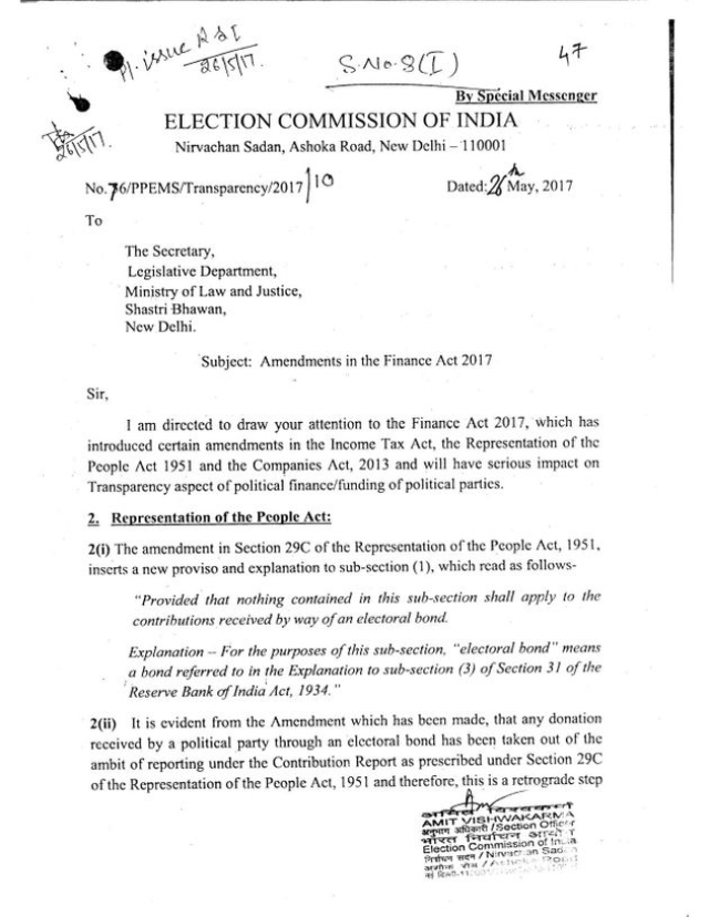 Letter to the government from the Election Commission of india