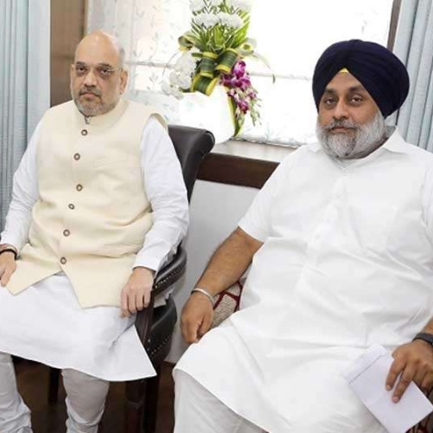 Amit Shah and SAD leader Sukhbir Badal (file photo-social media)