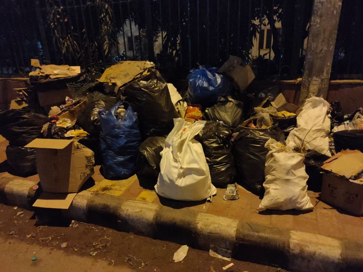 The trash collected by students from the road (Photo courtesy: Social media)