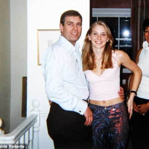The photo shows Prince Andrew with his arm around the waist of 17-year-old Virginia Giuffre who says Jeffrey Epstein paid her to have sex with the prince (Photo courtesy: Twitter)