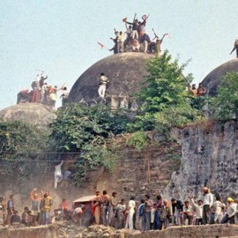Babri Masjid being demolished on Dec 6, 1992. (file photo)