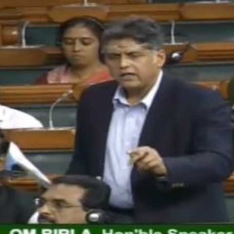 Congress leader Manish Tewari speaking in Lok Sabha on Citizenship Amendment Bill on Monday, Dec 9, 2019. (Photo courtesy: Lok Sabha TV)