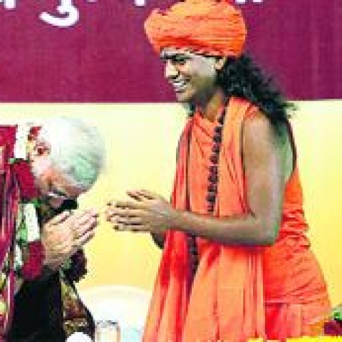 Controversial godman Nithyananda with PM Modi (File photo)
