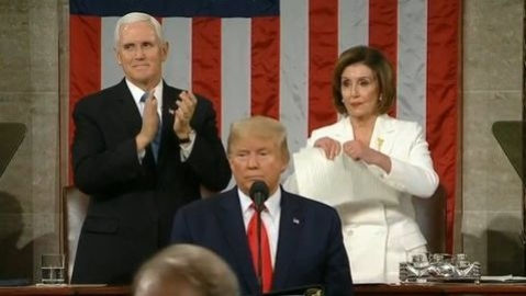 US House Speaker Nancy Pelosi rips up President Trump's State of the Union speech copy