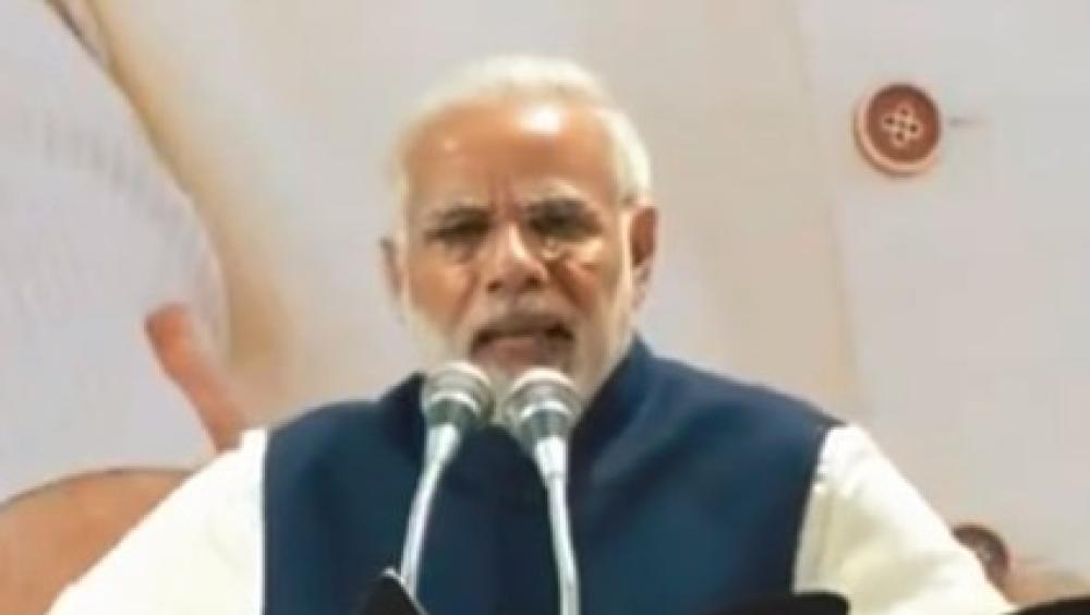 दिल्ली में बीजेपी मुख्यालय पर कार्यकर्ताओं को संबोधित करते प्रधानमंत्री नरेंद्र मोदी