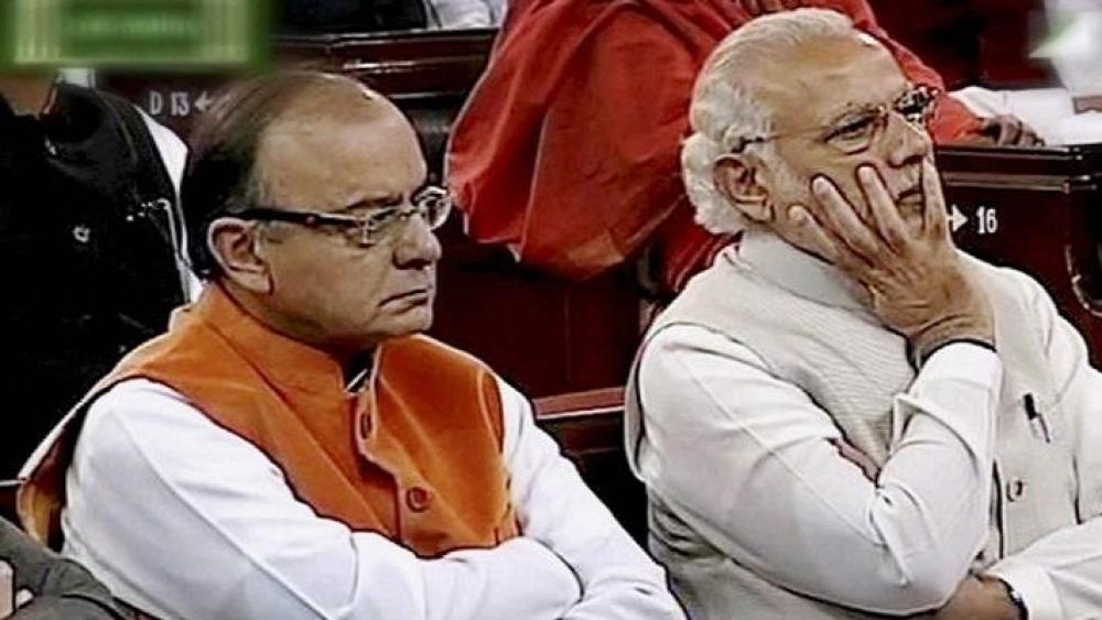 संसद में वित्त मंत्री अरुण जेटली और प्रधानमंत्री नरेंद्र मोदी की फाइल फोटो