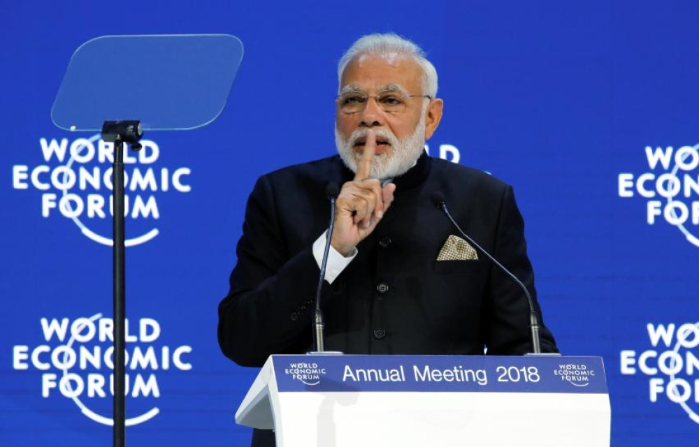 विश्व आर्थिक मंच में भाषण देते पीएम मोदी (फाइल)
