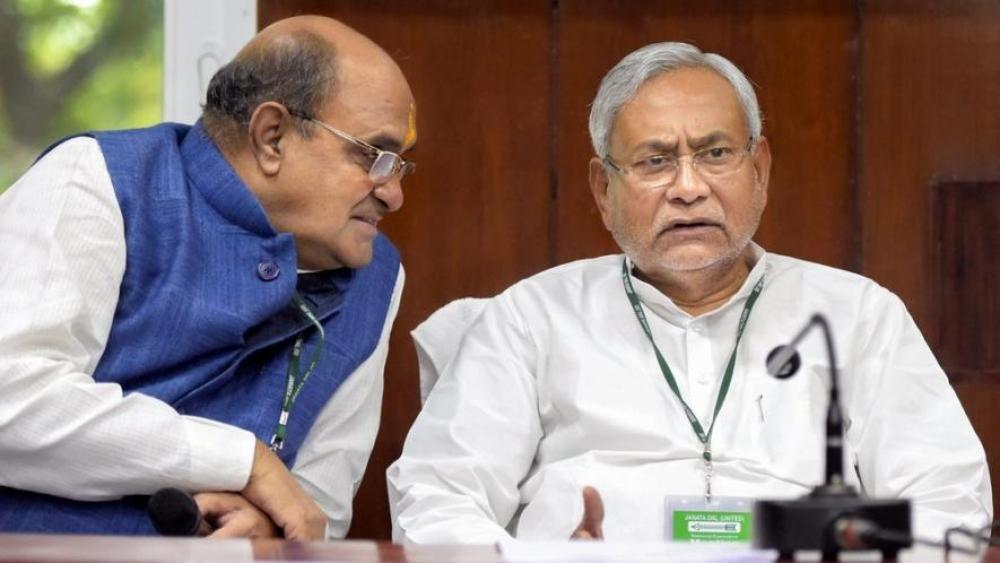 जेडीयू की राष्ट्रीय कार्यकारिणी की बैठक में नीतीश कुमार और केसी त्यागी