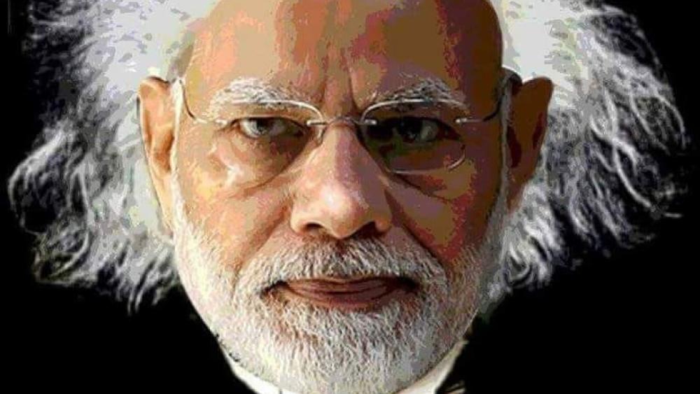 सोशल मीडिया पर प्रधानमंत्री नरेंद्र मोदी को मशहूर वैज्ञानिक आइंस्टाइन के रूप में पेश किया जा रहा है
