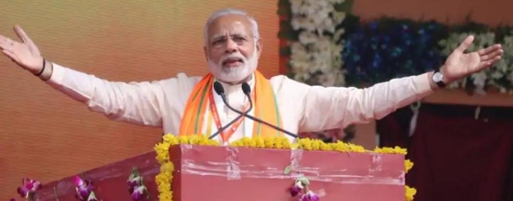 भोपाल में जनसभा में बोलते पीएम नरेंद्र मोदी। इसी सभा में उन्होंने उनकी सरकार के खिलाफ विदेशी साज़िश की बात की