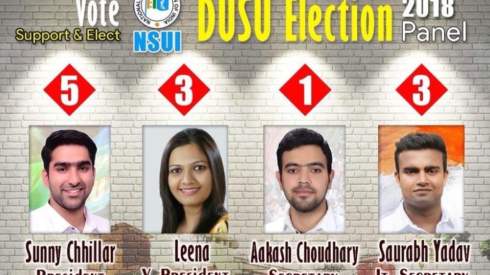 दिल्ली विश्वविद्यालय छात्र संघ चुनावों के लिए एनएसयूआई के प्रत्याशी