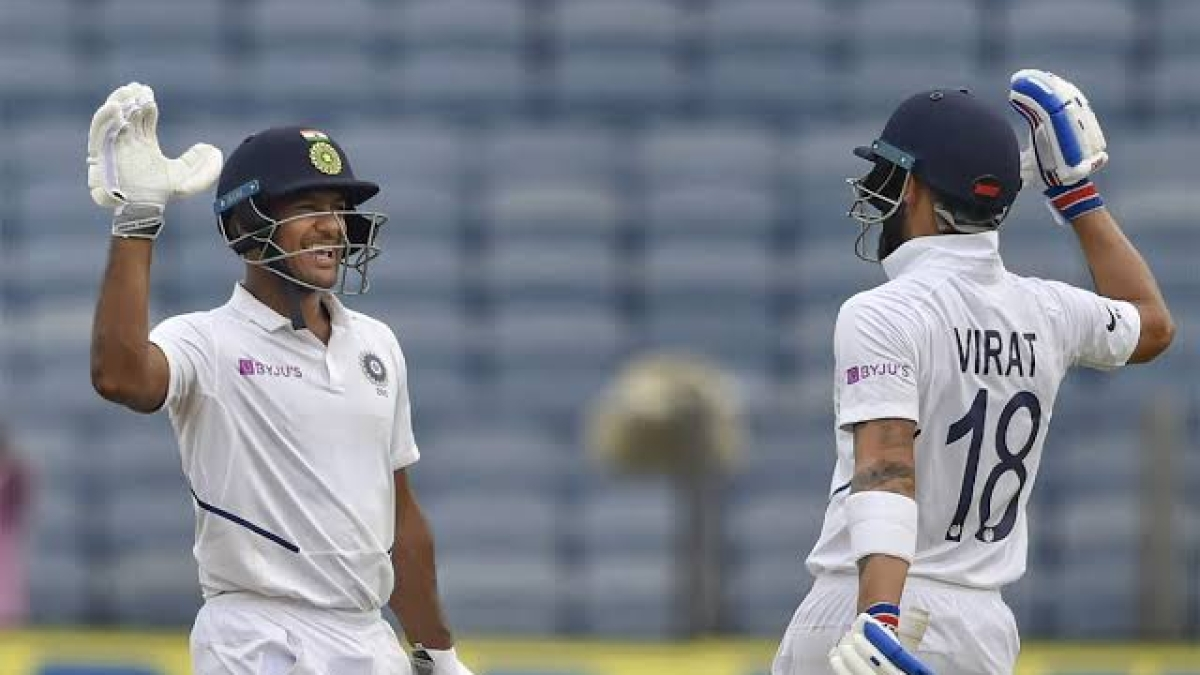 पुणे टेस्ट: मयंक के शतक की बदौलत मैच का पहला दिन रहा टीम इंडिया के नाम, 3 विकेट खोकर बनाए 273 रन