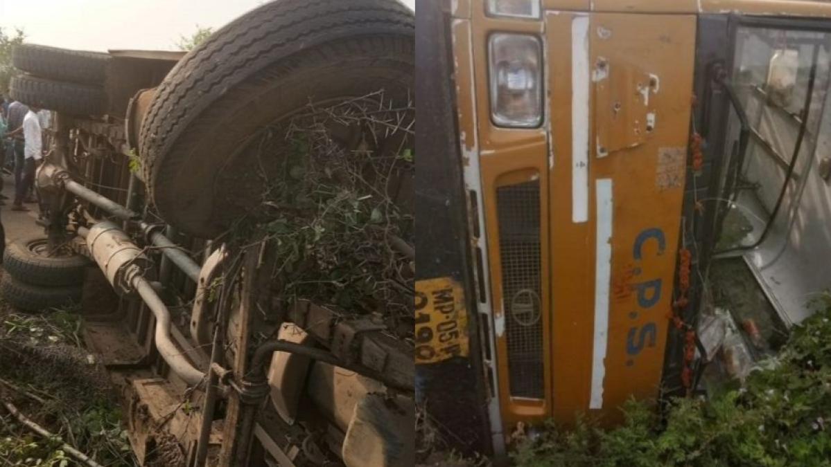 मध्य प्रदेश: होशंगाबाद में बेकाबू होकर पलटी स्कूल बस, 22 बच्चे हुए घायल