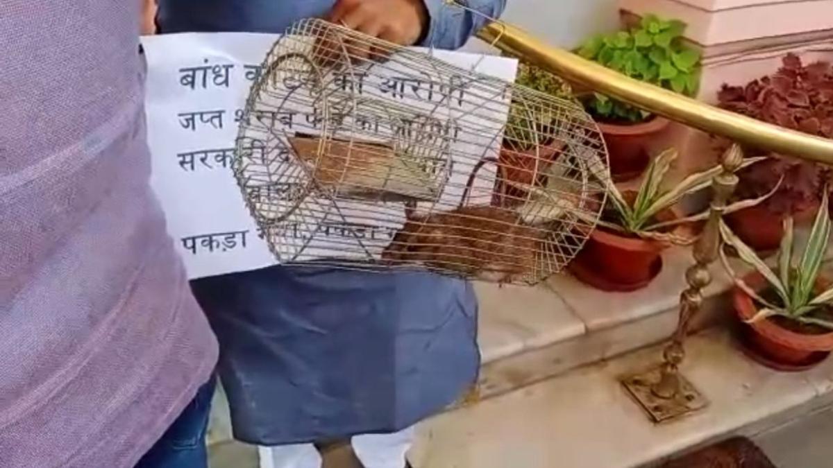 बिहार: आरजेडी ने शराबी, उपद्रवी और चोर चूहे को पकड़कर विधानसभा में पेश किया