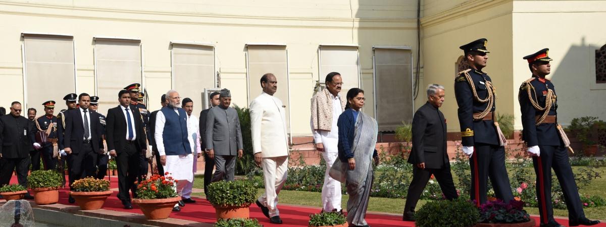 President Ram Nath Kovind, Vice-President M. Venkaiah Naidu, Prime Minister Narendra Modi and Lok Sabha Speaker Om Birla arrive in Parliament at the beginning of the Budget Session of Parliament, in New Delhi on January 31, 2020.