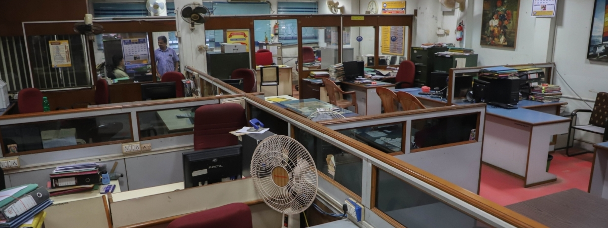 File photo of a bank in Chennai wearing a deserted look during a strike by employees on January 8, 2019.