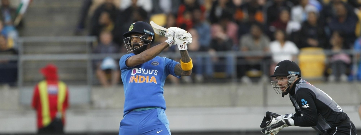 India's K L Rahul in action during the 4th T20I match between India and New Zealand at Westpac Stadium in Wellington, New Zealand on January 31, 2020.