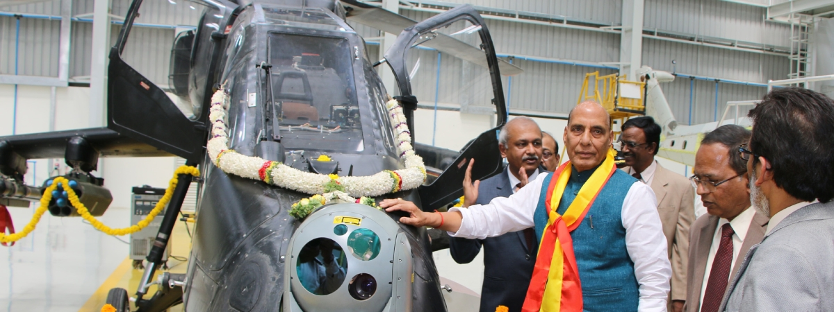 Defence Minister Rajnath Singh visiting after inaugurating the Light Combat Helicopter Final Assembly Hangar, at the Hindustan Aeronautics Limited (HAL) Complex, in Bengaluru on February 27, 2020.