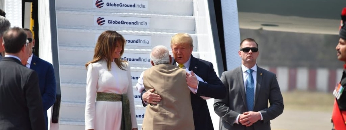 Prime Minister Narendra Modi receiving US President Donald Trump and First Lady Melania Trump at the Ahmedabad airport, on February 24, 2020.