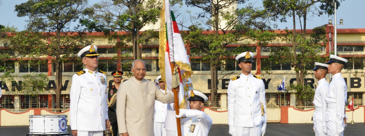 President Ram Nath Kovind presenting the President's Colour to INS Shivaji, in Lonavala, Maharashtra on February 13, 2020.