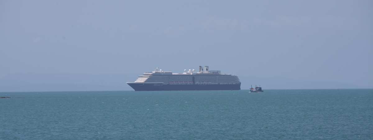 A Westerdam cruise ship seen at the Sihanoukville Autonomous Port (PAS) in Preah Sihanouk province, Cambodia on February 13, 2020 after being turned away over fears about the novel coronavirus disease.