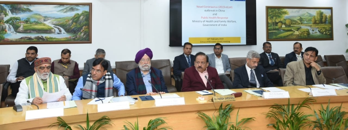 Union Ministers S Jaishankar, Harsh Vardhan, Hardeep Singh Puri and  Ashwini Kumar Choubey and External Affairs Minister S Jaishankar during the meeting of High level Group of Ministers (GoM) to review the steps for prevention of the spread of novel coronavirus, in New Delhi on February 13, 2020.