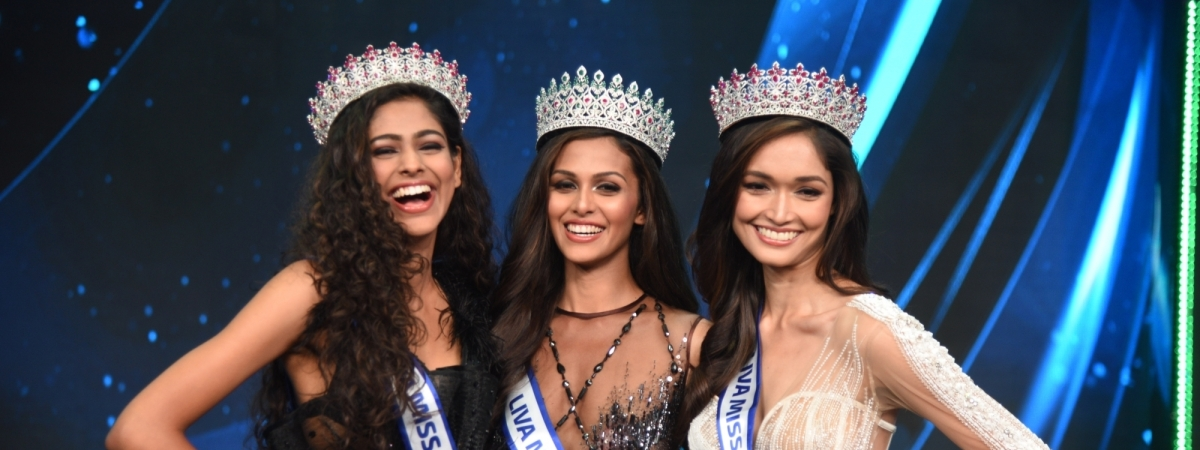 Miss Diva Supranational Aavriti Choudhary, Miss Diva Universe 2020 winner Adline Castelino and Miss Diva Runner-up Neha Jaiswal in Mumbai on February 22, 2020.