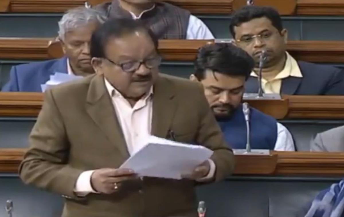 Health Minister Harsh Vardhan speaking in the Lok Sabha in New Delhi on February 10, 2020.