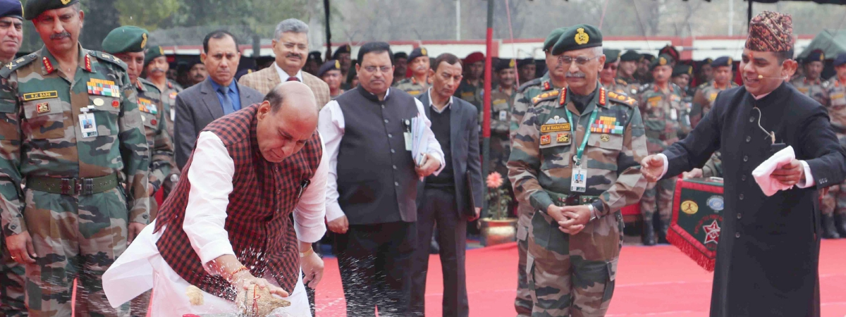 """Defence Minister Rajnath Singh performing 'bhoomi pujan"""" during the ground-breaking ceremony of Thal Sena Bhawan, the new Army Headquarters at Delhi Cantonment, in New Delhi on February 21, 2020."""