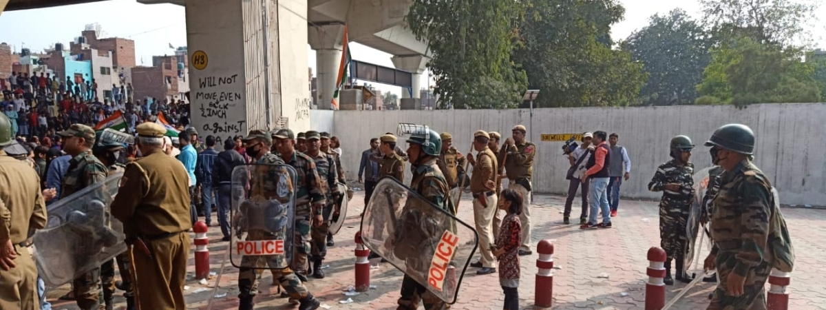 Security personnel deployed near Jaffrabad metro station where anti-Citizenship (Amendment) Act (CAA) protesters have gathered, blocking road no. 66 which connects Seelampur to Maujpur and Yamuna Vihar, on February 23, 2020.