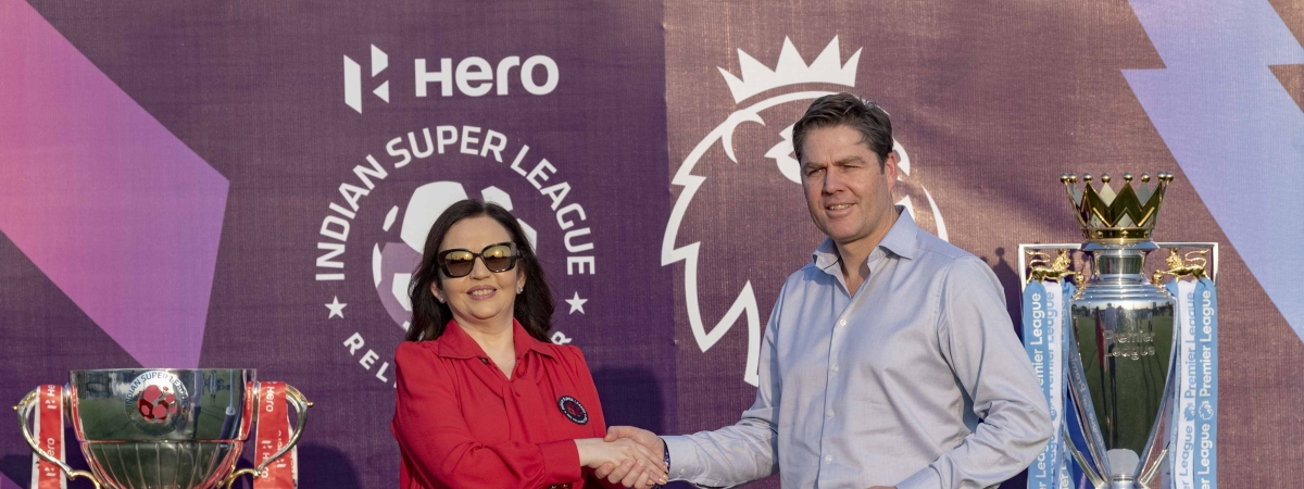 Nita Ambani, Chairperson and founder of Football Sports Development Limited and Reliance Foundation, and Premier League Chief Executive Richard Masters after signing a new agreement between Premier League and ISL at the Premier League-ISL Next Generation Mumbai Cup in Mumbai on February 28, 2020.