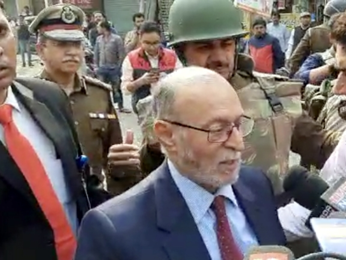 Delhi Lt Governor Anil Baijal talks to press during his visit to riot-affected areas in northeast Delhi, on February 28, 2020.