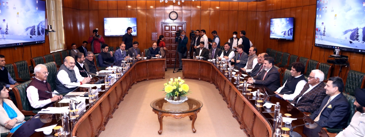 Union Home Minister Amit Shah meeting a delegation from Jammu & Kashmir's Apni Party led by Altaf Bukhari, in New Delhi on March 15, 2020.