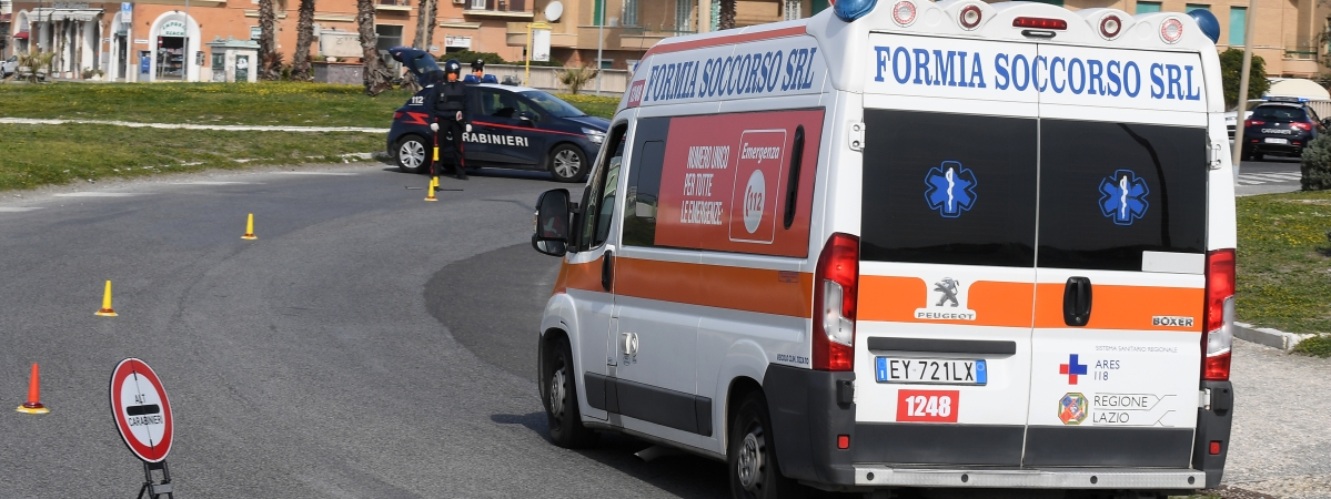 An ambulance is seen in Ostia, Rome, Italy, on March 21, 2020.